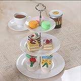 Mai tray Snack-Stand, 3-stufige Obstteller Einfache weiße Moderne Wohnzimmer mit Kuchengitter Nussplatte (Farbe : Weiß)