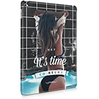 Hey It's Time To Relax Sexy Naked Brunette Girl Poolside Hard Plastic Protective Snap On Case Cover For Apple iPad Air 2 - Brunette Girl