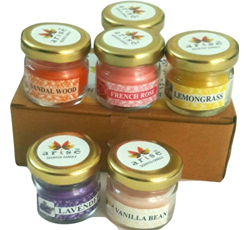 AVNID Mini Jar Scented Smokeless Candles Pack of 6 for Home Décor Christmas Spa Candles (Vanilla Bean, Jasmine, Sandalwood, French Rose, Lavender, Lemon Grass)