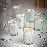 VonHaus Vintage LED Teelichter & Halter aus Glas 6-teilig - Quecksilberfarben