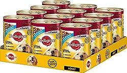 Pedigree Adult Hundefutter 3 Sorten Fleisch, 12 Dosen (12 x 400 g)