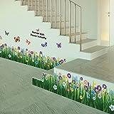 Amazingdeal365 Schmetterlings-Gras-Blumen-Aufkleber Removable DIY Vinyl-Zitat-Wandaufklebe für Kindergarten Kinderzimmer Schule Größe:Ca. 163 cm x 50 cm