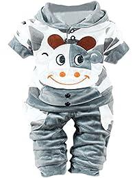 1pc Cime + Pantalone 1pc , feiXIANG Neonata Bambina ragazzi mucca Cartoon abiti caldi vestiti di velluto con cappuccio set top
