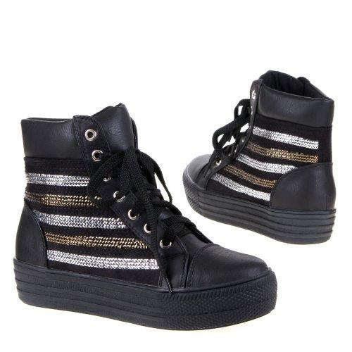 Damen Schuhe, FD122, FREIZEITSCHUHE Schwarz