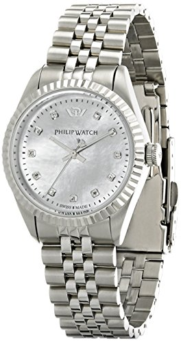 Philip Watch Caribbean r8253107512 – Ladies Watch – Analogue Quartz – Mother of Pearl Dial Silver Steel Strap