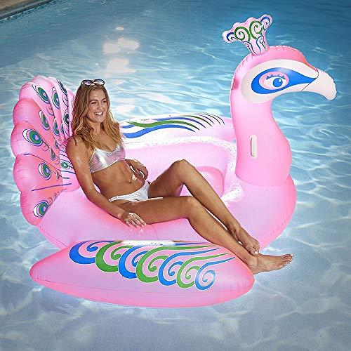 Yikuo Rosa Pfau Form PVC Aufblasbare Schwimmer, Umweltfreundlich Und Tragbar, Sommer Wasserseite Pool High-Balance Spielzeug, 190 X 170 X 120 cm Wunderschönen