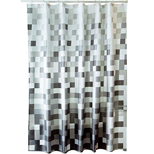 Eanshome Noir et Blanc Tissu en Polyester Salle de Bain imperméable Rideau de Douche Approx 180 x 200cm