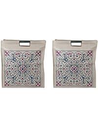 Desi Mart Nylon Multi-Colour Reusable Shopper Bag (Pack Of 2, NB-210)