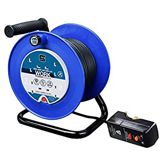 Masterplug LDCC2513/4BLRCD 13amp 4 Socket 25 meter Open Cable Reel with RCD Plug - Blue