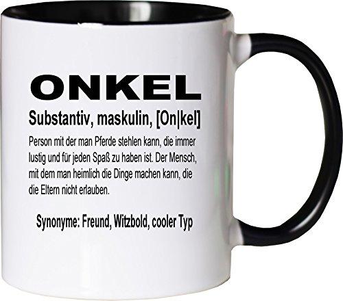 Mister Merchandise Kaffeebecher Tasse Onkel Definition Bruder Geschenk Neffe Nichte Geschenk Teetasse Becher Weiß-Schwarz