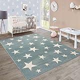 Paco Home Moderner Kurzflor Kinderteppich Sternendesign Kinderzimmer Pastell Türkis Weiß, Grösse:120x170 cm