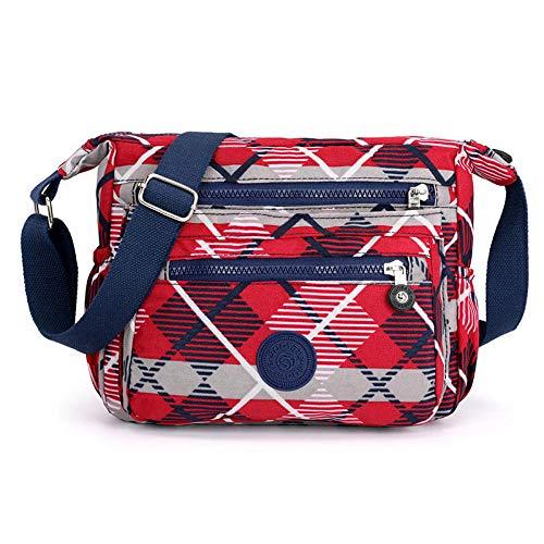 BBAGG Frauen wasserdichte Nylon Messenger Bag Messenger Bag Umhängetasche Casual Multi-Pocket-Handtasche Handtasche heißenroten Gitter (Gitter-sling-rucksack)