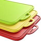 Zanmini Lot de Planches à découper (3pcs), Alimentaires PP-Matériel, N'abîment pas vos couteaux de chef, Antidérapantes en Rouge Jaune Vert
