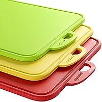 Zanmini Tablas de Cortar para Picar Conjunto de 3 Colores(rojo,amarillo,verde) con base antideslizante y diseño para guardar fluído,Apto para Lavavajillas