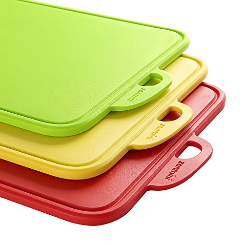 Zanmini Chopping Board Meat Cutting Board Set of 3 Food Grade PP Non-Slip Feet Kitchen Cutting Boards with Hanging Hole and Stand,Dishwasher Safe Good Kitchen Tools for Chef (RED, Green, Yellow)