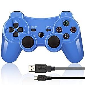 Doppelter vibrierender Wireless Controller für PS3 mit Lade Kabe(Blau)