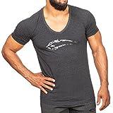 SMILODOX T-Shirt Herren mit V-Ausschnitt | Camouflage V-Neck für Sport Fitness Gym & Freizeit | Slim Fit Freizeitshirt - Camo Shirt mit Aufdruck & kurzen Ärmeln, Farbe:Anthrazit, Größe:XL