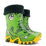 Demar 1/2 UK: Boys Girls Kids Warm Fleece-Lined Green Crocodile Wellington Boots Wellies New
