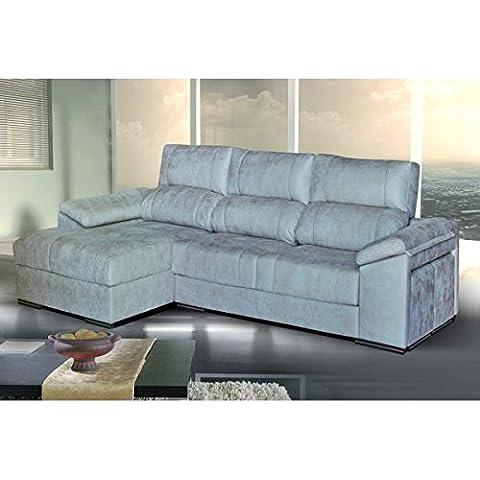 Sofá de dos plazas más chaiselongue izquierda tapizado en tela. Varios colores