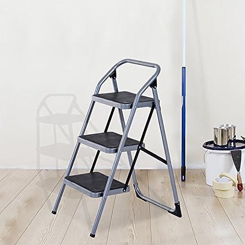Escalera Plegable de Acero Taburete Escabel Base Antideslizante Tijera 2 Modelos (3 Peldaños)
