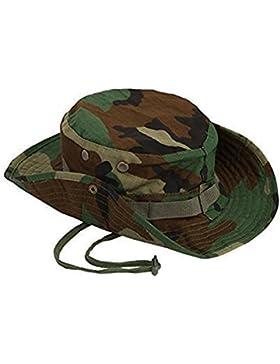 Cdet Sombrero de cuchara Pesca militar caza de acampada sombrero de ancho brim hombres sombrero de sol al aire...
