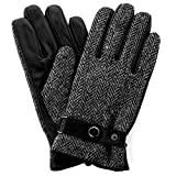 - 51GEbY 2BwIGL - Harris Tweed Luxury Designer Adult Leather Wool Mens Gloves Woollen Winter Warm