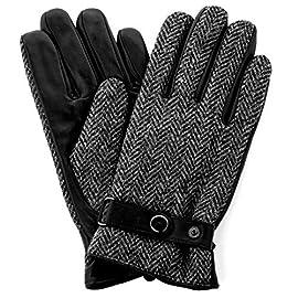 Harris Tweed Luxury Designer Adult Leather Wool Mens Gloves Woollen Winter Warm