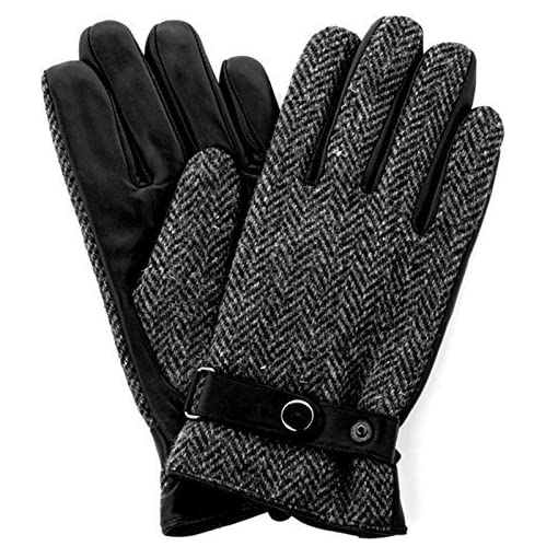 Harris Tweed Luxury Designer Adult Leather Wool Mens Gloves Woollen Winter Warm