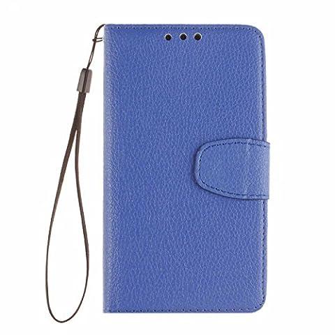 Cozy Hut Huawei P7 Bookstyle Étui Bleu Housse en Cuir Case à rabat pour Huawei P7 Coque de protection Portefeuille TPU Case - Bleu
