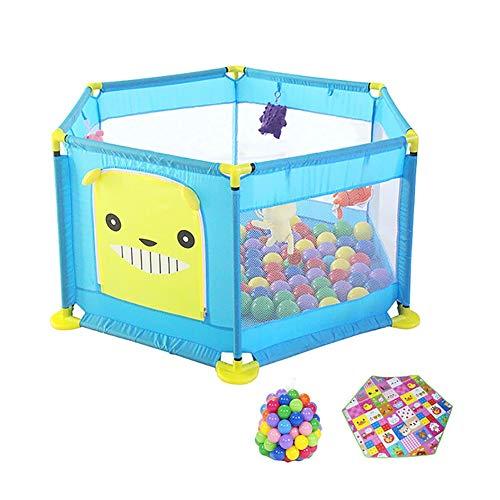 COUR DE RÉCRÉATION Parc pour Bébé avec Ballon Et Matelas, Cloison Hexagon Safety Toddlers, Cloison Anti-Collision pour Enfant Bleu, 128 × 64 Cm