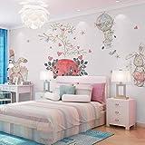 murimage Papier peint Photo Mural - 350x250cm Décoration Murale XL - Chambre d'enfant de dessin animé rose chaud chambre de princesse lapin - Wallpaper Colle Inclus