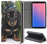 Samsung Galaxy S3 / S3 Neo Hülle Premium Smart Einseitig Flipcover Hülle Samsung S3 Neo Flip Case Handyhülle Samsung S3 Motiv (1587 Hund Welpe Schwarz Süß)