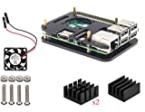 Pour Raspberry Pi 3 Modèlel b Kit , Boitier , dissipateur ,Ventilateur (Noir)