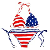 Milya Zweiteiliger Bikinibadeanzug Bikini-Set Swimwear Gepolsterte BH Neckholder USA Flagge Muster Size L