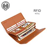 APHISONUK Womens Soft Leather Purse RFID Blocking Wallet Lady Credit Card Clutch Holder Long Wallets / Gift Box (Brown)