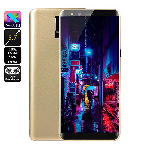 Fulltime E-Gadget Neue Art und Weise 5,7 Zoll Doppel-HDCamera Smartphone Android 5.1 IPS-Full-Bildschirm GSM/WCDMA-Touch Screen 512 MB RAM + 512 MB ROM WiFi Bluetooth GPS 2G Anruf-Handy (Gold)