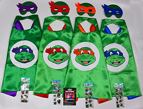 Teenage Mutant Ninja Turtles TMNT (Set 4 capes und maske): Leonardo + Donatello + Raphael + Michelangelo + 4 Aufkleber! Umhänge und Maske - Superhelden-Kostüme Kinder Cape and Mask - (Ninja Turtles Teenage Mutant Violett)