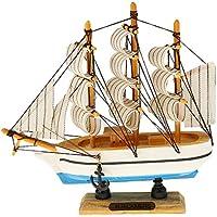 Juguete a Escala Decoración Artesanal Velero Mediterráneo Verdadero Barco de Madera - 15 x 15 cm