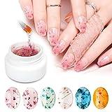 Fiori secchi smalto in gel, Saviland 6Colors soak off UV LED manicure decorazione nail art design kit (rosa/blu/giallo)