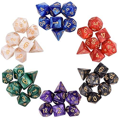 SanGlory 6 x 7 (42 Stück) Polyedrische Würfel Set mit 6 Stück Schwarz Beutel, Polyedrischer Spielwürfel für RPG Dungeons und Dragons Pathfinder 6 Set von d20 d12 2 d10 (00-90 und 0-9) d8 d6 und d4
