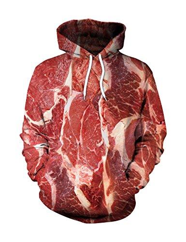 FeelinGirl 3D Imprimé T-shirt Viande Crue Pull Manches Longues Sweat à capuche #4