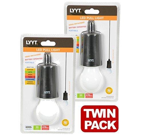 Lytt Decken-Hängeleuchten, LED, mit Schnur, tragbar, für Garagen, Schuppen, Zelte und Dachboden, 410.385, 2 Stück (Tragbare Garage Zelt)