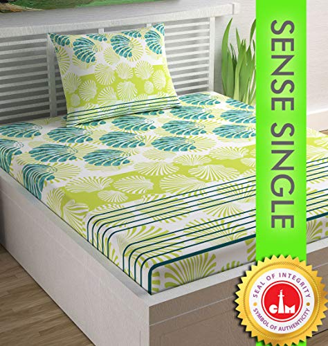 Divine Casa Sense Cotton 104 TC Single Bedsheet with Pillow Cover - Floral, Limeade and Turquoise