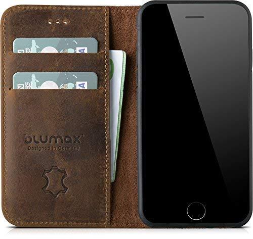 iPhone 8/7 Leder Flip Case - Blumax Echt Ledertasche Tasche Hülle für Apple iPhone7 und iPhone8 auch für iPhone 6/6s mit Kartenfächer kabelloses Laden Qi möglich - Tasche antik-dunkelbraun