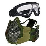 Aoutacc Airsoft Schutzausrüstung, Set mit Halbgesichtsmasken mit Ohrenschutz und Brille für CS/Jagd/Paintball/Shooting, camouflage
