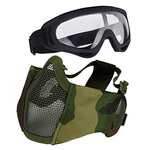 Aoutacc Softair Set, Half Face Mesh Masken mit Ohr Schutz und Brillen Set für schutzausrüstungen CS/Jagd/Paintball/Shooting, Camouflage