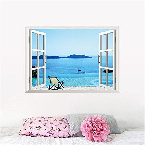 Playa grande AWAKINK extraíble mar 3D de ventana con paisaje extraíbles arte decoración para el hogar bricolaje decoración pegatinas de pared para la decoración del hogar del arte de la pared decoración de la pared decoración del dormitorio de la sala de estar habitación decoración