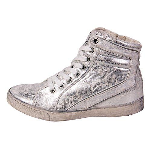 francescomilano Sneaker da donna High Top Ghiaccio Silver h452N metallizzato 36