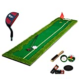JHGEF Golf Mat Golf Putter Putter Pad Übung Matte Büro Hause Tragbare 300 * 50/75 cm (1 * Green Slope Pad + 1 * Drücker + 6 * Golf + 1 * Edelstahl Loch Tasse + 1 * Slope Pad + 1 * Pinsel)