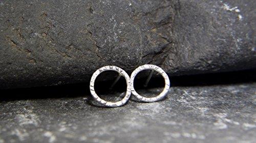 hammered-texture-circle-sterling-silver-stud-earrings-handmade-in-cornwall